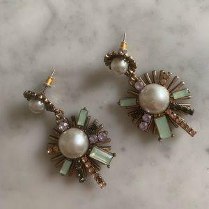 Jewelry - Pearl gold purple costume jewelry Art Deco earring
